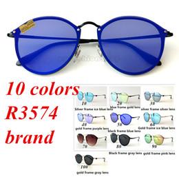 óculos de sol redondos e reflexivos Desconto Óculos de sol de alta qualidade New Vintage Frame Redondo Cor Filme Óculos De Sol De Metal UV Proteção Reflexiva Lente Óculos De Sol