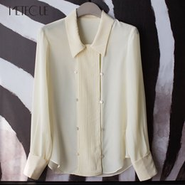 Wholesale Women Button Front Shirt - Office Lady 100% Silk Front Pleated Double Breasted Long Sleeve Blouse Women Crepe De Chine Office Shirt Spring Summer 2018