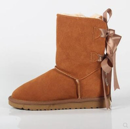 girls 13 boot UK - designer shoes Australian Style ug Bailey Bowtie Women Snow Boots 2Bow Back Winter Leather Boots 3280 Brand IVG luxury women shoes size 4-13