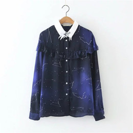 Wholesale galaxy stars shirt - Spring Autumn Space Star Chiffon Shirt Cosmic Constellation For Women Blouse Long Sleeves Galaxy Prints Shirts Casual Tops