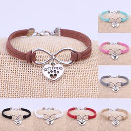 Wholesale Best Dog Gifts - New Hot Ancient Silver Dogs Paw Best Friend Heart Charms Pendant Velvet Leather Infinity Bracelet Bangle Women Jewelry Holiday Gift