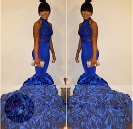Wholesale Pageant Dress Girls Size 16 - 2018 Black Girl Sexy Mermaid Prom Dresses Halter Neck Cutaway Backless Court Train Formal Evening Gowns Celebrity Pageant Wear BA5125