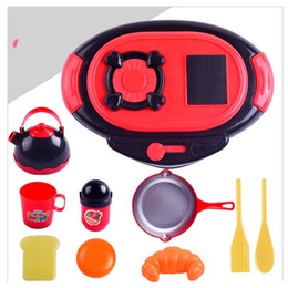 Wholesale Pretend Foods - Simulation Cook Tableware Plastic Pretend Play Food Kid Puzzle Kitchen Toys Children 10 Piece Suit Cooking Bench Creative 6 9lh V