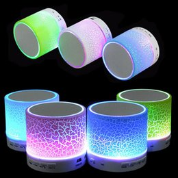 Wholesale Flash Player Mp3 - Mini Wireless Speaker LED Colored Flash A9 Handsfree Wireless Stereo Speaker FM Radio TF Card USB For iPhone Mobile Phone