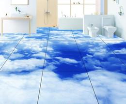 Wholesale Bathroom Vinyl Flooring - vinyl flooring bathroom Realistic blue white clouds 3D floor sticker Ultra HD illustration 3d Floor Murals
