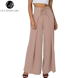 cb40518c2c17 Lily Rosie Girl Lace Up Black Women Wide Leg Pants 2018 Summer Casual High  Waist Long Trousers Pleated Pant Loose Female Trouser Y1891705