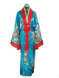 Promoción azul femenina Kimono de seda japonés clásico Yukata con obi novedad Bowknot rendimiento ropa talla única JK043 desde fabricantes