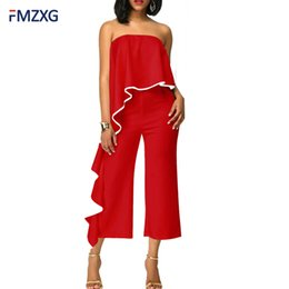 Wholesale Thin Overalls - FMZXG Sexy Off Shoulder V-Neck Bodysut Women Playsuit Casual Thin Summer Chiffon Body Feminino Jumpsuits Overalls For Women