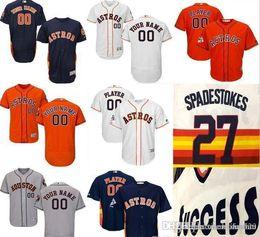 CUSTOM Hn Astros Mens Женщины Молодежь Индивидуальные трикотажные изделия для бейсбола Majestic Личное имя Личный номер РАЗМЕР S-XXXL от