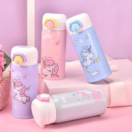 2020 garrafas de água para crianças Novo Aço Inoxidável Crianças Copo Vácuo Dos Desenhos Animados Unicórnio Animal Em Linha Reta Garrafa De Água Bonito Cor Garrafas Para Crianças 13 5yj Ww desconto garrafas de água para crianças