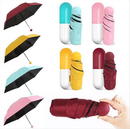 parapluie pliant Promotion Capsule Parapluie Mini Poche Pluie Soleil Parapluies Anti-UV Pliable Étuis Compact Vents Coupe-Vent Pliable Parasol Enfants Sunblock YFA416