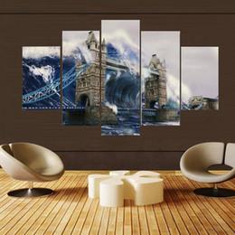 décorations de pont Promotion Moderne Toile Peinture Hd Mur Artwork 5 Panneau London 's Tower Bridge Décoration De La Maison Pour Salon Type D'impression Modulaire Photos
