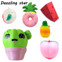 brinquedos divertidos para homens adultos Desconto 2018 Anti-stress Brinquedo jumbo Macio Frutas Melancia Pêssego Banana Squishy Lento Rising squeeze Divertido Adulto Kid Men squishies Brinquedo