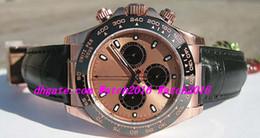 2019 relojes de lujo de oro rosa Relojes de Lujo pulsera del cuero de los HOMBRES de 18 quilates de oro rosa Everose CHAMPAGNE NEGRO BISEL # 116515LN 40MM mecánico de la manera de los hombres reloj de pulsera relojes de lujo de oro rosa baratos
