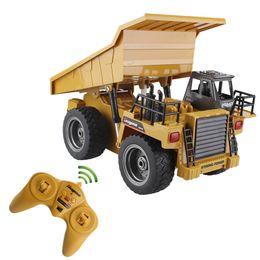 RC Truck Alloy Dumper Carro basculante 2.4G 4WD Punta Camión de control remoto Camión de máquina de la mina Modelo de vehículo electrónico Hobby Juguetes desde fabricantes