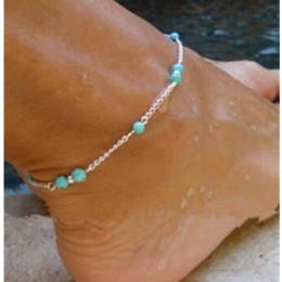 Милый ножные браслеты онлайн-1Unique Bead Silver Chain Anklet Souvenir Ankle Feet Bracelet Feet Jewelry Cute Tibetan Silver Green  Anklets Women Jewelry