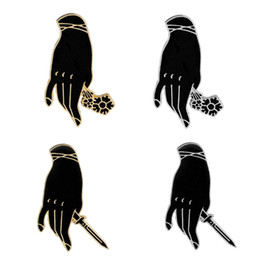 Wholesale wholesale goth jewelry - Crative Hand Holding Rose & Dagger Pins Enamel Pin Badge Goth Punk Brooches Pins Jewelry Pins Button Denim Jacket Lapel Pin for Women Men