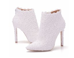 Wholesale Bridal Ankle Boots - Sexy Fashion White Lace Lady Party Prom Shoes Boots Wedding Shoes Bridal Dress Women Shoes