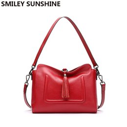 Wholesale Leather Smiley - SMILEY SUNSHINE tassel hobos women bags genuine leather shoulder bags female crossbody ladies small leather handbags red