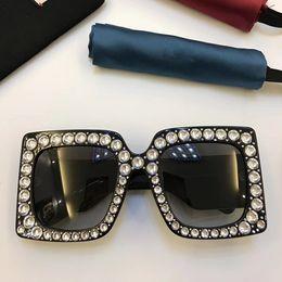 Wholesale Diamond Big - Limited Edition Sparkling Diamond 0145 Designer Square Big Frame Popular UV Protection Sunglasses Top Quality Fashion Summer Style For Women