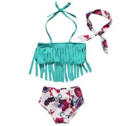Wholesale Girls Swimsuit 3pcs - 3Pcs sets toddler baby girls bikini sets with headband tassel swimwear swimsuit bathing suit beach wear kids summer clothes
