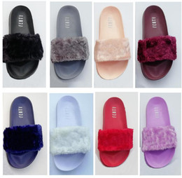 Wholesale Flat Leather Shoe - Leadcat Fenty Rihanna Faux Fur Slippers Women Indoor Sandals Girls Fashion Scuffs Pink Black White Grey Slides High Quality With Shoes Box