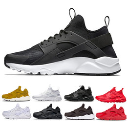 Wholesale womens black canvas - 2018 Huarache 1 4 5 Running Shoes Men women Triple White Black red Grey mens womens Huaraches trainer sports shoes Sneakers size 36-45