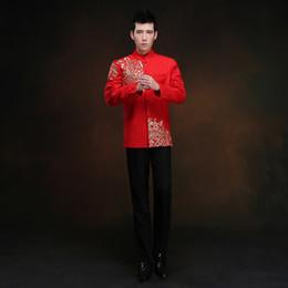 1c6fbc10dd1f rosso tunica maschile tradizionale cinese maschile orientale abbigliamento  uomo shanghai tang cheongsam top wedding vestito cinese tang per gli uomini