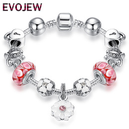 Bracelets d'amitié fleur en Ligne-Haute Qualité Bracelet Vintage Argent Fleur Charmes Bracelets avec Perles De Verre Rose Fille Bracelets Amitié Bijoux Making