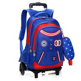 Wholesale School Bags Wheel - Children School Bags with 3 2 Wheels Removable Kids Child Trolley School Bag Boys Girls Rolling Backpack Wheeled Bookbag