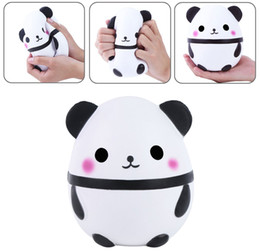 Wholesale Egg Squishy - Kawaii Panda Egg Squishy Super Soft Slow Rising Jumbo Squeeze Phone Charm Cream Scented Stress Reliever