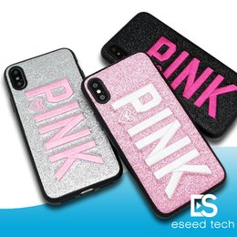 Wholesale hot design iphone case - Love Pink Phone Case Fashion Design Glitter 3D Hot Embroidery PINK Cover Cases For Iphone X 8 7 6 Plus Samsung S9 S9Plus
