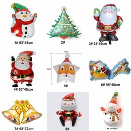 wholesale decorative indoor trees Promo Codes - Christmas tree deer Bell Hydrogen Helium Balloon Festival Decorative Aluminum Foil Balloon Santa Claus snowman Design