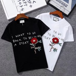 Wholesale Distressed T Shirts - 2018 Summer Designer Luxury Brand Cotton Clothing T-shirt Men Women Distressed Logo Printing T-shirt Embroidery Tee Tops TshirtsRoses