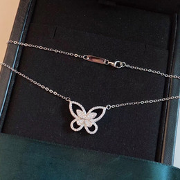 Подвески из стерлингового серебра 925 онлайн-Kindlegem  Real 925 Sterling Silver Jewelry For Women Butterfly Necklace Pendants With Stone Women  Bijoux Gift