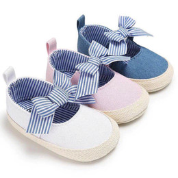 Wholesale Baby Girls Ballet Shoes - 2018 ROMIRUS Baby Princess Girls Mary Jane Shoes First Walker Solid Bow-knot Crib Bebe Striped Ballet Dress Walking Shoes