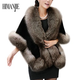 Wholesale Mink Hair Fur Coat Women - Wholesale-2017 Winter lady warmth new Mink Hair Imitation coat cloak imitation mink fur women fur shawl for Women