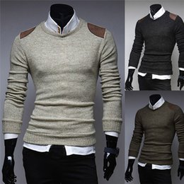 Wholesale collar blouse neck designs - 2017 Men Autumn Winter Slim Collar Long-sleeved Sweater Top Blouse Patch Designs Solid Pullovers O-Neck M-2XL
