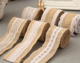 Wholesale Burlap Wedding Banners - Linen Table Flag Banner Lace Table Runner Burlap Jute Table Runner Gift Packing Ribbon Roll Rustic Style Wedding Decoration