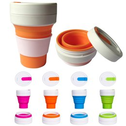 Wholesale Travel Plastic Cups Camping - 12oz (350ml) Silicone Collapsible Cup Travel Camping Hiking Mug Portable Reusable Pocket Cup Bottle With Leak Lid WX9-308