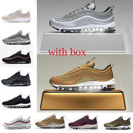 Wholesale Bullets Light - 2018 97 97s Og Undftd Undefeated Triple white Running shoes OG Metallic Gold Silver Bullet Mens trainer Women sports Shoes sneakers with box