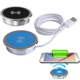 Wholesale Table Iphone Charger - Universal embed QI wireless charger pads table desk desktop furniture cafes wireless charging for IPhoneX 8Plus Samsung S9 S7 mobile phones