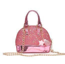 Wholesale Wholesale Glitter Handbags - Children Mini Shoulder Bags for Girls Shinning Glitter Purse for Toddler Kids Shell Sequin Bags with Chain Cute Handbags 8 color KKA4835