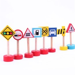 Wholesale lamp accessories parts - Creative Signal Lamp Warning Light Toys For Children Wooden Train Track Parts Traffic Sign Toy Standard Model Accessories 0 8yb X
