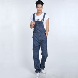 Wholesale Boys Baggy Jeans - Fashion Multi pocket denim overalls for boys Male casual loose jumpsuits Plus size Bib pants Straight Baggy cargo jeans 062906