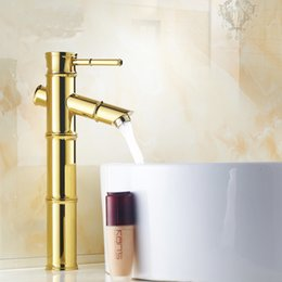 Wholesale Ceramic Art Basin - Antique gold plated bamboo style brass basin faucet hot and cold, Art retro single hole bathroom basin faucet Whosale or retail