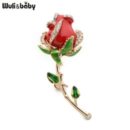 baby brooch flower Promo Codes - Wuli&baby Rhinestone Enamel Red Rose Brooches For Women Alloy Flower Weddings Banquet Party Brooches Valentine Day Gifts