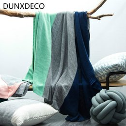 Wholesale Nordic Knitting - DUNXDECO Blanket Cotton Knitting Throw Nordic Gradational Stripe Air-condition Sofa Bedding 130x160CM