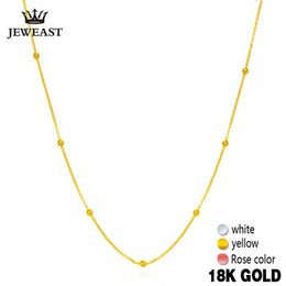 2019 18k чистое золотое ожерелье 18k Pure Gold Necklace White Yellow Rose Chain  For Women Girl Gift Fine Jewelry New Hot Sell Upscale Top Good NLike скидка 18k чистое золотое ожерелье