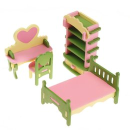 Wholesale Furniture Room Sets - Wholesale-4pcs set 1:16 Dollhouse Miniature Baby's Princess Room Creative Furniture Wooden Shelf Heart Desk Chair Kid Child Toy Cottage